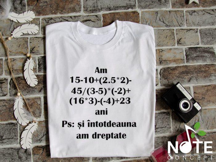 Tricou personalizat cu operatie matematica
