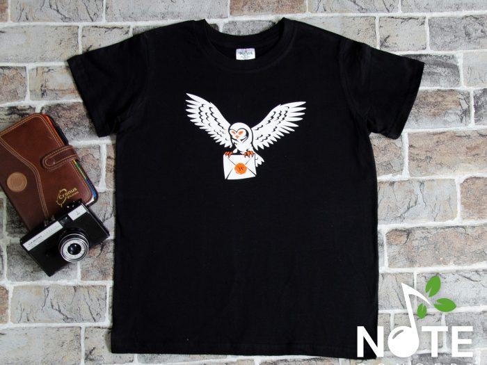tricou negru personalizat cu bufnita
