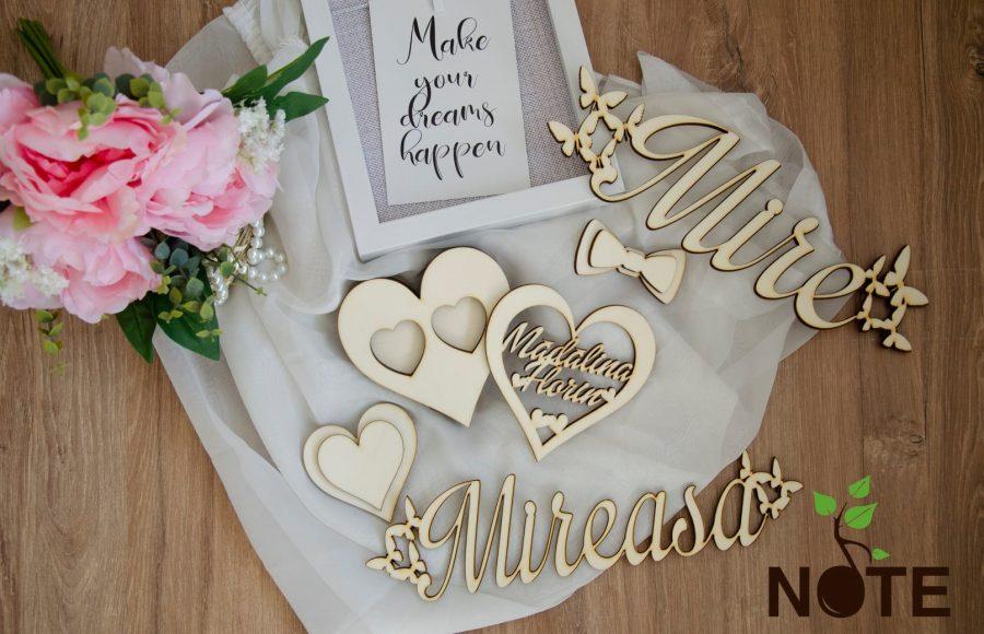 Set cutie verigheta si text din lemn pentru nunta