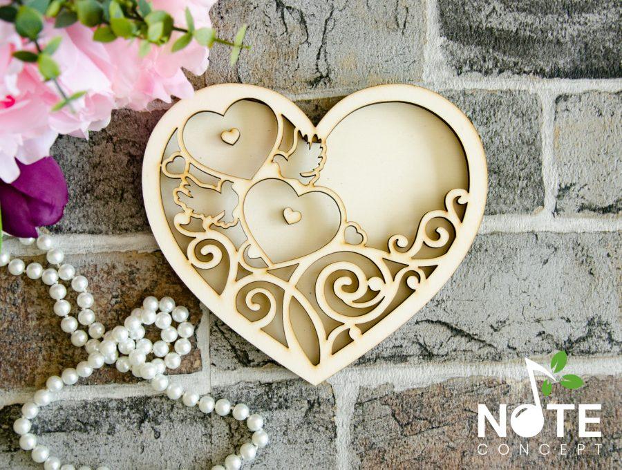 cutie inima blank din lemn pentru verighete